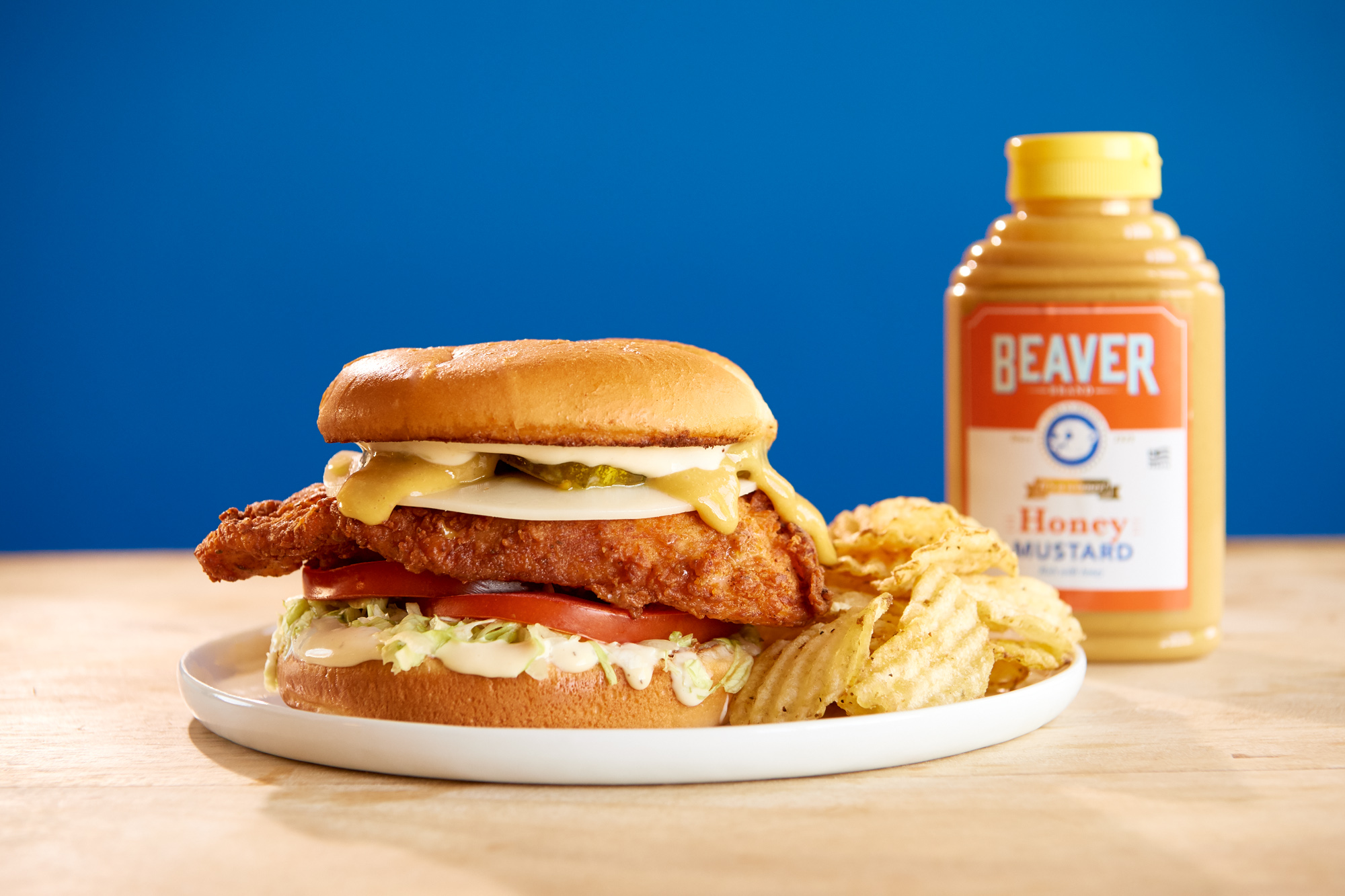 Fried chicken sandwich with Beaver Brand Honey Mustard